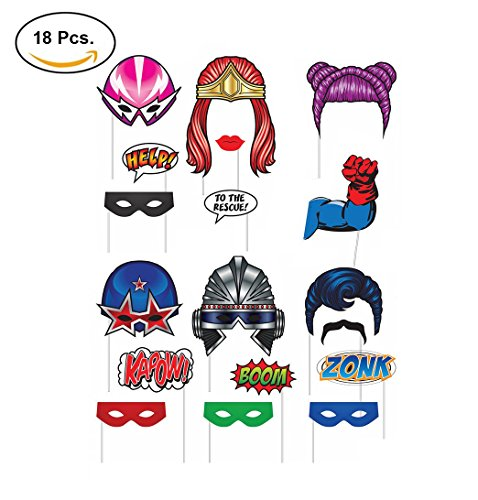 Superhero Themed Party Photo Booth Props Decor- 18 Pc (Superhero Themed Parties)