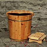 Foot Bath Bucket Solid Wood Barrel Natural Thicken Pedicure Household Durable Heightening,Ears+Cover+massagebeads+fumigationstool