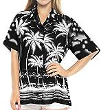 LA LEELA Hawaiian Shirt Blouses Button Up Women Beach Wear Short Sleeves Swimsuit Blue