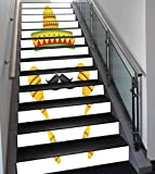Stair Stickers Wall Stickers,13 PCS Self-adhesive,Mexican Decorations,Famous Centerpiece Icons Sombrero Moustache Rumba Shaker Mesoamerican Image,Yellow,Stair Riser Decal for Living Room, Hall, Kids R