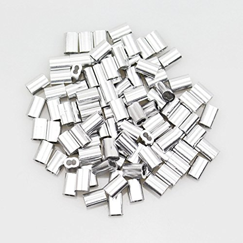 100 Pcs 18 Inch Aluminum Crimping Loop Sleeve For Wire Rope And