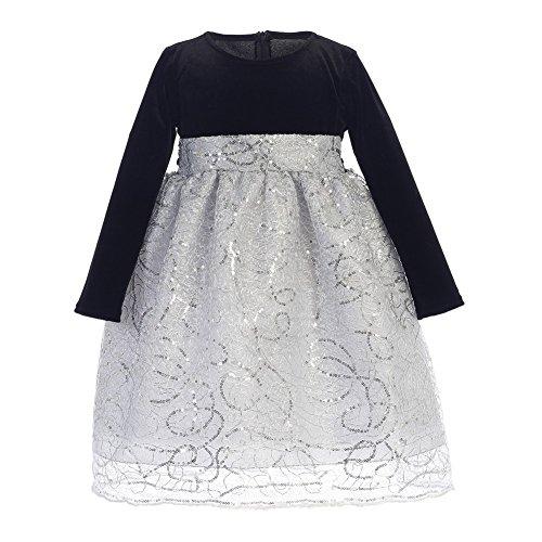 Price comparison product image Lito Little Girls Black Silver Velvet Corded Sequin Christmas Dress 4T