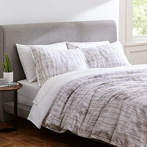 (Rivet Modern Ikat Duvet Comforter Cover Bedding Set, 100% Cotton, Easy Care, Full / Queen, Grey)