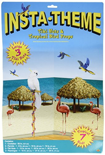 Beistle 52006 Printed Tiki Hut and Tropical Bird Props, 8