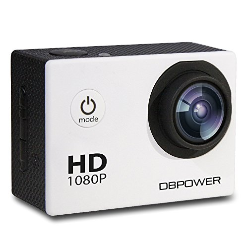 DBPOWER Waterproof Action Camera, 12MP 1080P HD with 2 Batteries and Free Accessories Kit (White) DBPOWER