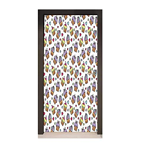 Valentines Door Decal Pattern of Cupcakes Various Toppings and Frostings and Colorful Hearts Love Decorative Door Sticker Multicolor,W23xH70