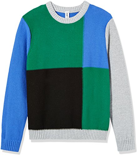Kid Nation Boys' Long Sleeve Pullover Color Blocked Sweater L Blue by Kid Nation (Image #1)