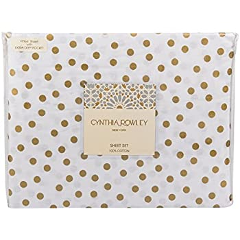 Amazon cynthia rowley gold metallic polka dots on white cotton cynthia rowley gold polka dots on white cotton sheet set queen thecheapjerseys Images