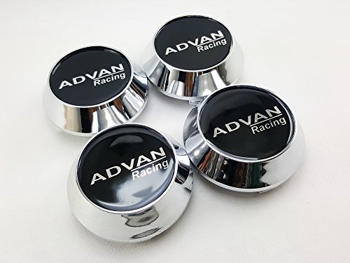 Center Wheel Hub Caps Cup Cover Logo Advan racing Size 63.5mm. Silver Chrome 4pcs.