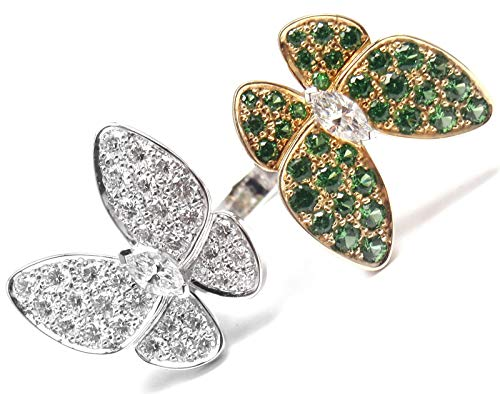 Jewelry Inspired Cartier (Van Cleef Inspired Two Butterfly 14k White & Rose Gold Natural Diamond & Emerald Stone Engagement Wedding Between Finger Ring)