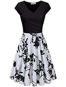 KASCLINO Women's Floral Dress, A Line Cap Short Sleeve V Neck Summer Swing Dress with Pockets