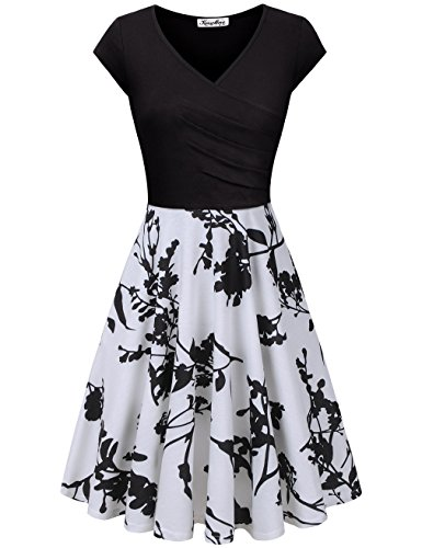 KASCLINO Fit and Flare Dress, Women's Vintage Floral Wedding Party Dress with Pockets Black-1 M ()