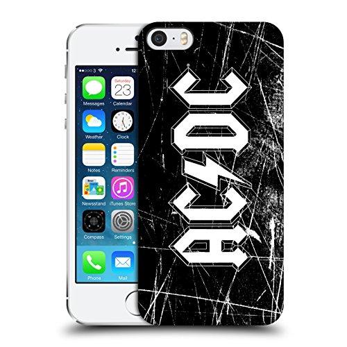 Officiel AC/DC ACDC Grunge Blanc Logo Étui Coque D'Arrière Rigide Pour Apple iPhone 5 / 5s / SE