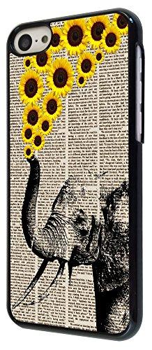 570 - Funky Aztec elephant Floral Sunflowers Trunk Design iphone 5C Coque Fashion Trend Case Coque Protection Cover plastique et métal - Noir