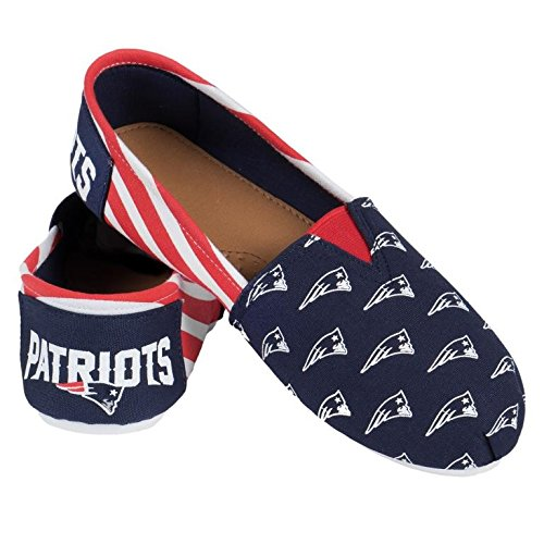Flops Flip Team (NFL Womens Football Ladies Canvas Logo Slip-On Summer Shoes - Pick Team (Stripes England Patriots, Medium))