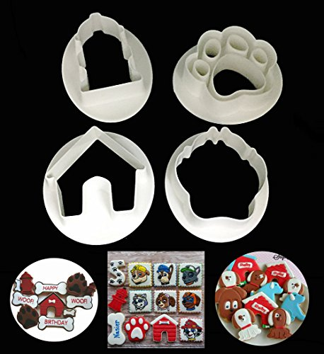 Mity Rain Pet Theme Cookie Cutters,Dog Face, House, Hydrant,Paw,4-Piece Set,Cake Fondant Mold for Kitchen Baking Dessert Plating Design and Decoration Dog House Cookie Cutter