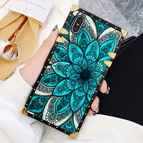 Square Case Compatible iPhone Xs Max Blue Mandala Luxury Elegant Soft TPU Full Body Shockproof Protective Case Metal Decoration Corner Back Cover iPhone Xs Max Case 6.5 Inch