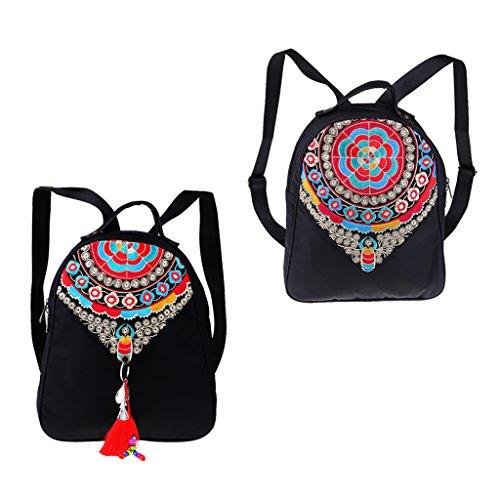 32x Embroidery Backpack Women Bag 29x School Homyl Supplies Travel Shoulder Flower 10cm Vintage BIE55qP