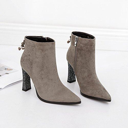 de de Imitación Altas de Botas Tacón Botas Martin Punta Alto Y negro Descubiertas EUR35 Botas Gamuza Mujer Grueso de Diamantes Zapatos de w8d0qqn5