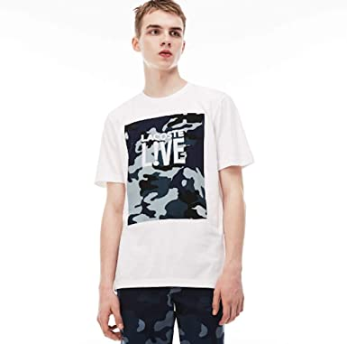 c01d5bf145 Lacoste Men's Live Crew Neck Print Design Jersey T-Shirt Small White ...