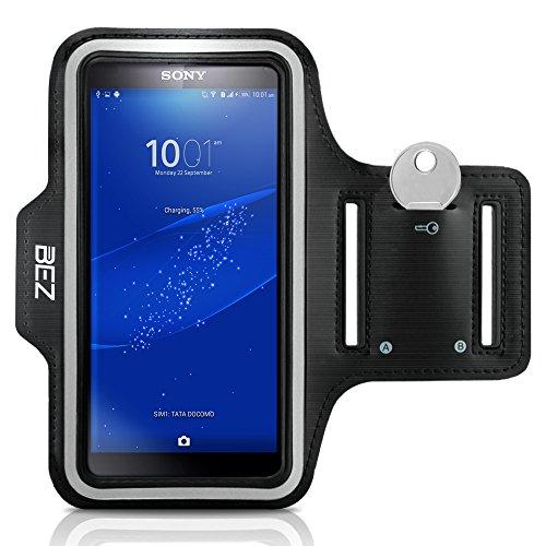 Sportarmband, BEZ® Sportarmband Hülle Armtasche Hülle / Wasserabweisendes Sport-Armband mit Schlüsseltasche für Sony Xperia Z3 - Smartphone Fitness Armband für Laufen, Wandern , Radfahren , Reiten