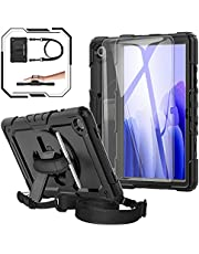Samsung Galaxy Tab A7 10.4 SM-T500/T505/T507 Case 2020, [Kid Proof] BASE MALL Full Body Rugged Cover with Tempered Glass Screen Protector, Rotating Kickstand/Hand & Shoulder Strap/S Pen Holder (Black)
