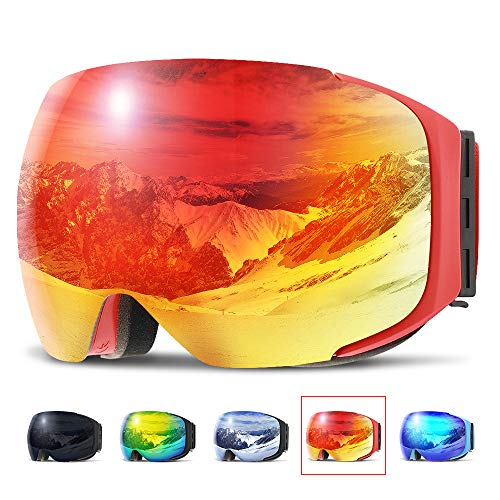 - COPOZZ Ski Goggles, G2 Magnetic Snowboard Snow Goggles -2 Seconds Quick Change Lens, Imported Double-Layer Anti Fog Lens -UV400 Over Glasses OTG Helmet Compatible - for Men Women Youth Unisex