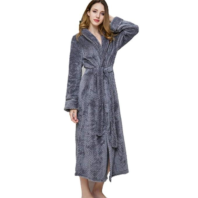 LYLXS Kimono Mujer Batas Albornoz de Forro Franela Polar ...