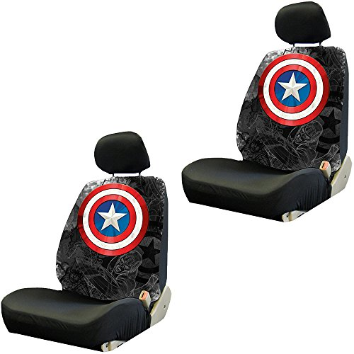 (Captain America Colored Shield Logo Avengers Marvel Comics Auto Car Truck SUV Vehicle Low Back Front Bucket Seat Cover - PAIR)