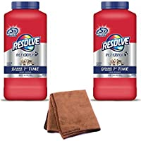 Resolve Pet Carpet Cleaner Powder, 18 oz Bottle, For Dirt Stain & Odor Removal, 2-Pack with Cleaning Cloth