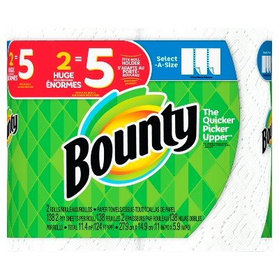 Price comparison product image Bounty Select-a-Size Paper Towels - 2 Huge Rolls