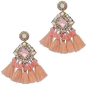 Women Tassel Earrings Vintage Statement Earrings Crystal Stud Fashion Jewelry (Pink)