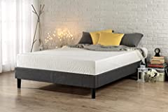 The Essential Platform Bed by Zinus is a minimalistic, stylish bed base that works well with a variety of decorating styles and lets you easily update the look of your room. Top-quality grey upholstery covers this platform bed frame. A box sp...