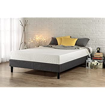 zinus essential upholstered platform bed frame mattress foundation no boxspring needed wood slat support king