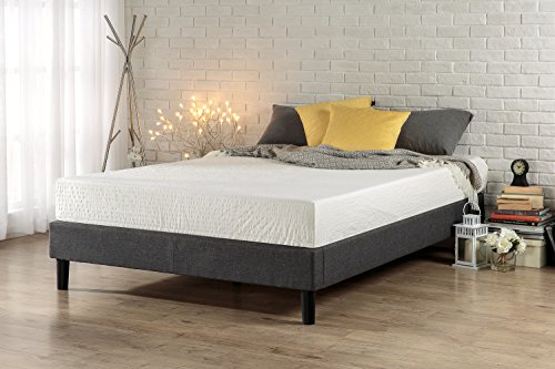 Zinus Essential Upholstered Platform Bed Frame/Mattress Foundation/no Boxspring needed/Wood Slat Support, King