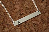 Tiny Thin Silver Bar Initial Necklace Rectangle