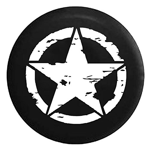 Oscar Mike Military Tattered Tactical Star Spare Jeep Wrangler Camper SUV Tire Cover White Ink 33 in