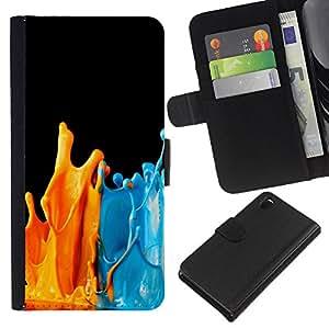 - MODERN ART PAINT BLUE ORANGE SPLASHES - - Prima caja de la PU billetera de cuero con ranuras para tarjetas, efectivo desmontable correa para l Funny House FOR Sony Xperia Z3 D6603