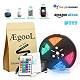 WIFI Wireless Controlled Rope Light Kit, 12V Flexible RGB Music LED Strip Light Kit with Remote Dimmer Timer, 32.8Ft 300LEDs 5050, via Smart Phone Alexa App Google Home & IFTTT(Waterproof)