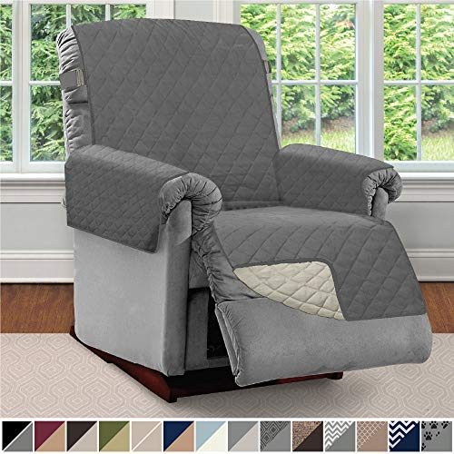 "Sofa Shield Original Patent Pending Reversible Recliner Slipcover, Dogs, 2"" Strap/Hook Seat Width Up to 28"" Washable Furniture Protector, Slip Cover Throw for Pets, Kids (Recliner: Charcoal/Linen)"