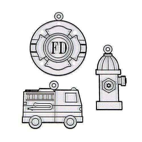 Fun Express - Fire Truck Suncatchers - Craft Supplies - Bulk Craft Accessories - Suncatchers - 24 Pieces