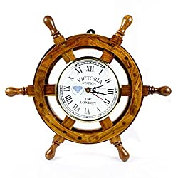 Nautical Handcrafted Wooden Premium Wall Decor Wooden Clock Ship Wheels | Pirate's Accent | Maritime Decorative Time's Clock | Nagina International (12 Inches, Clock Size - 5 Inches)