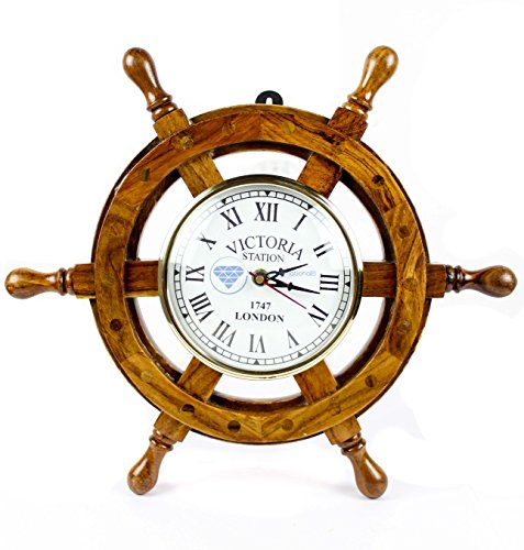 Solid Brass Ships Wheel Clock - Nagina International Nautical Handcrafted Wooden Premium Wall Decor Wooden Clock Ship Wheels | Pirate's Accent | Maritime Decorative Time's Clock (12 Inches, Clock Size - 5 Inches)