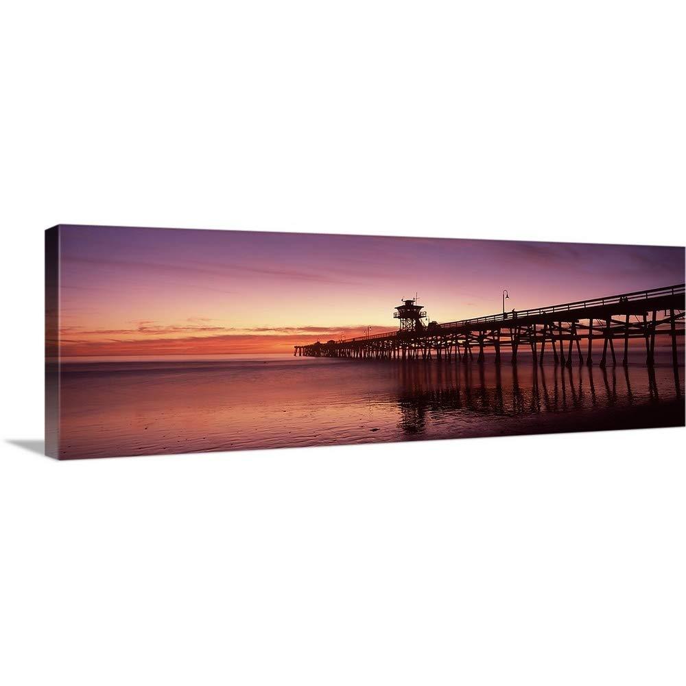 キャンバス上のシルエットが需要プレミアムシックラップカンバスウォールアートプリント題名Pier , San Clemente Pier、ロサンゼルス郡 60