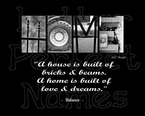 000 Alphabet Art - HOME (Brick) - Inspirational / Motivational Wall Art 8X10 Photograph Matted with Word / Letter Art Photography. ()