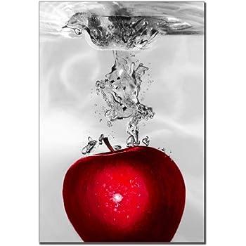 Trademark Fine Art Red Apple Splash by Roderic Stevens Canvas Wall Art, 22x32-Inch