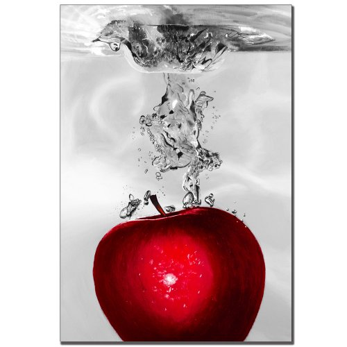 Art Apple - Red Apple Splash by Roderic Stevens, 22x32-Inch Canvas Wall Art