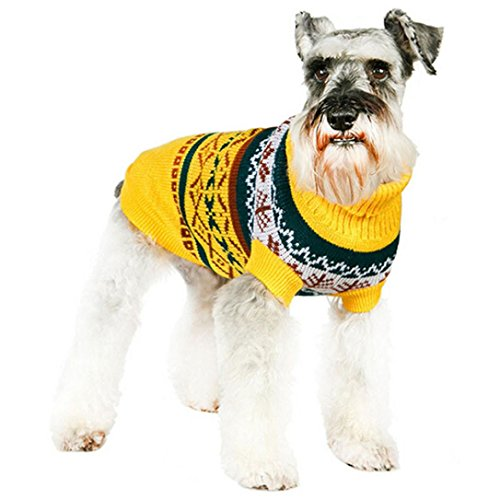 (OutTop Dogs Cold Weather Knitted Turtle Neck 3D Patterns Sweater for Small-Sized Dogs Dachshund, Poodle, Pug, Chihuahua, Shih Tzu, Yorkshire Terriers, Papillon (L, R_Yellow) )