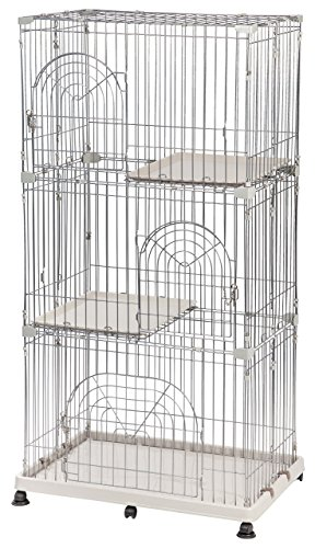 iris-3-tier-wire-pet-cage-gray