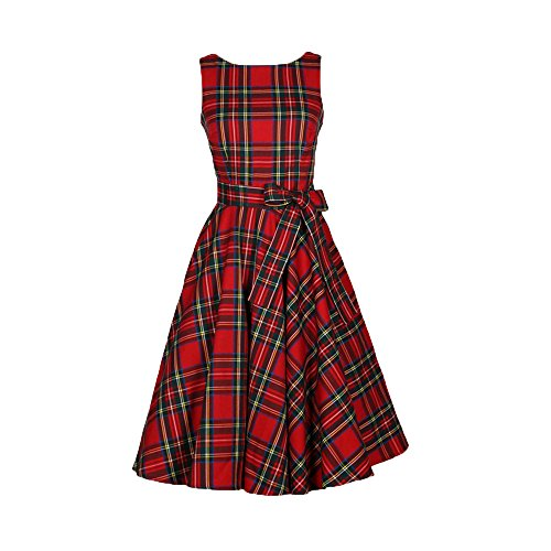 ZOMUSA Women Vintage Floral Plaid Belted A-Line Picnic Evening Party Cocktail Sleeveless Dress (M, Red) Pique A-line Dress